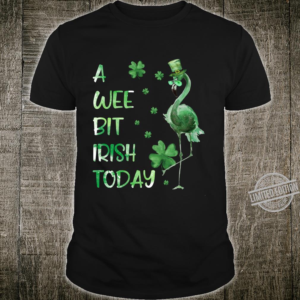 A Wee Bit Irish Today Green Flamingo St Pattys Day Shirt