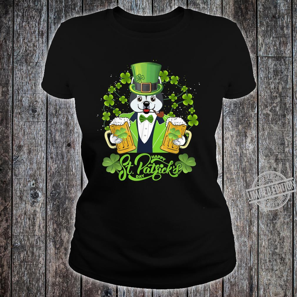 Alaskan Dog Shamrock St Patrick's Day Shirt ladies tee