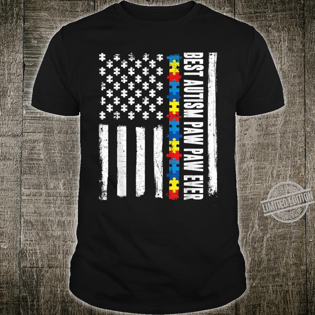 American Flag Best Autism Paw Paw Ever Autism Awareness Shirt