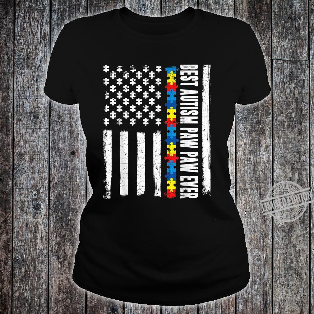 American Flag Best Autism Paw Paw Ever Autism Awareness Shirt ladies tee