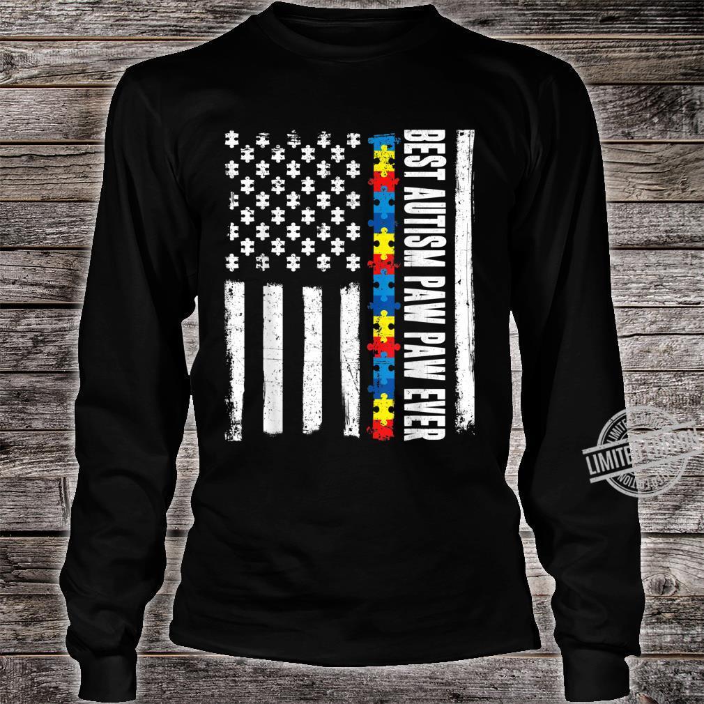 American Flag Best Autism Paw Paw Ever Autism Awareness Shirt long sleeved