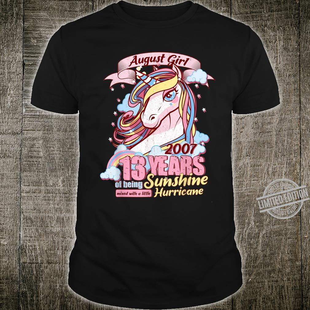 August Girl 13 Years Old Sunshine Birthday Unicorn Shirt