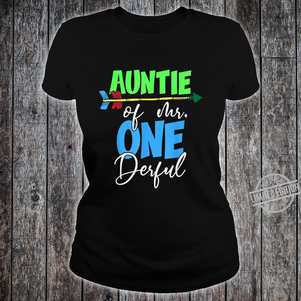 Auntie of Mr. Onederful 1st Birthday Bday Party Family Shirt ladies tee