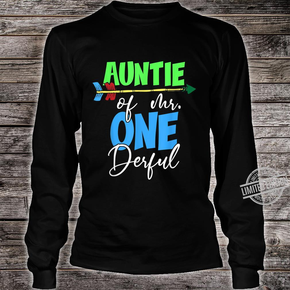 Auntie of Mr. Onederful 1st Birthday Bday Party Family Shirt long sleeved