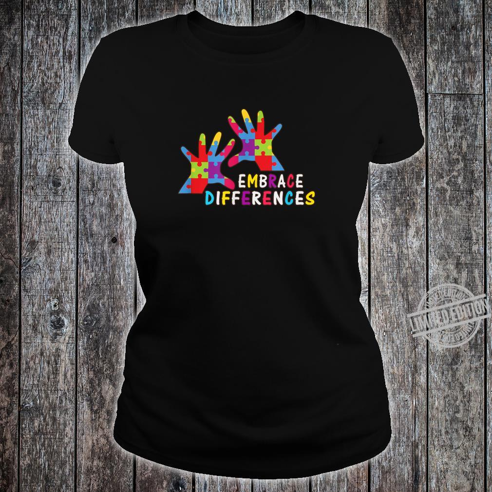 Autism Awareness Kindness Embrace Differences Shirt ladies tee