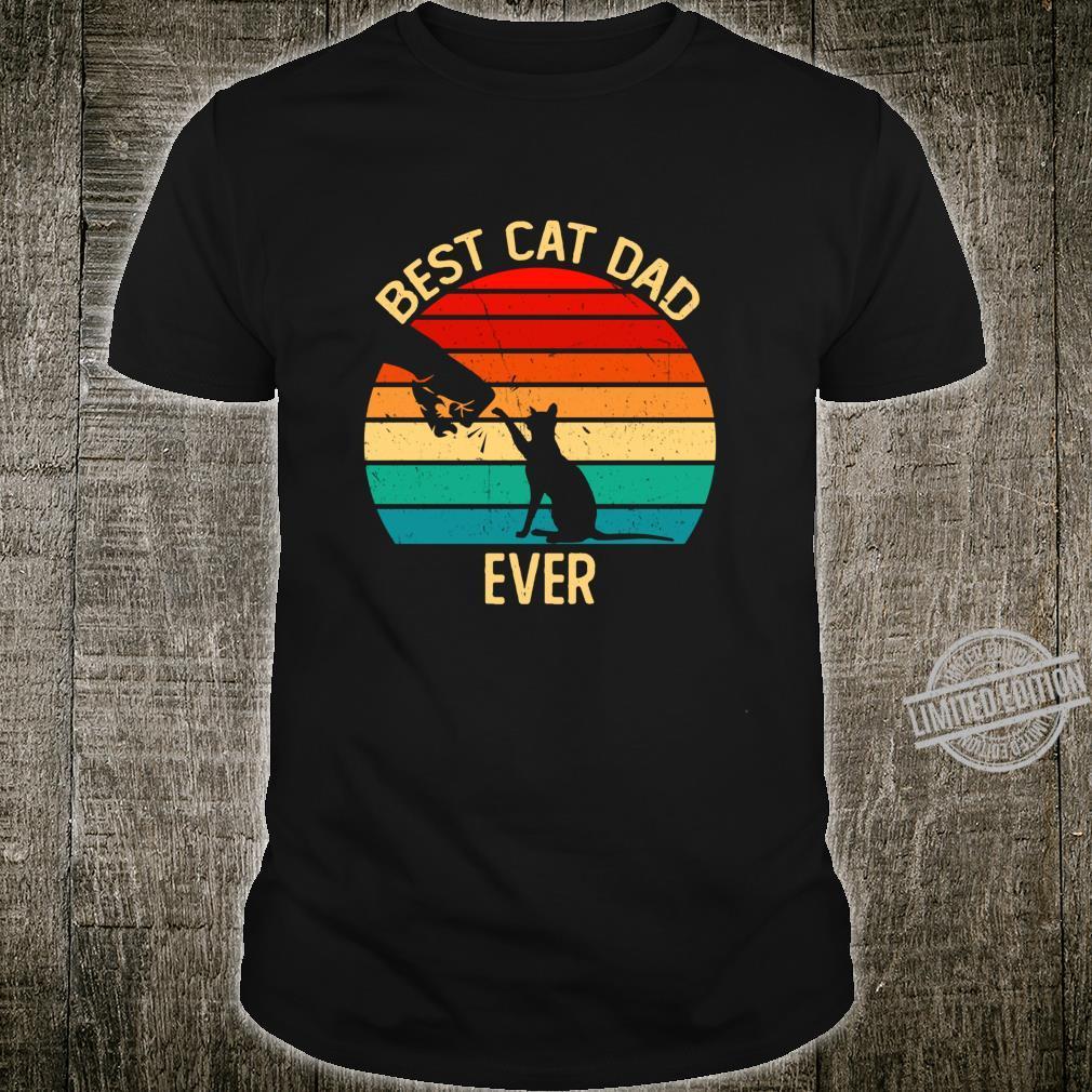 Best Cat Dad Ever Retro Vintage Paw Fist Bump Shirt