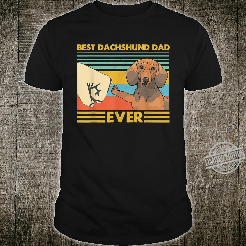 Best Dachshund Dad Ever Retro Vintage Sunset Shirt