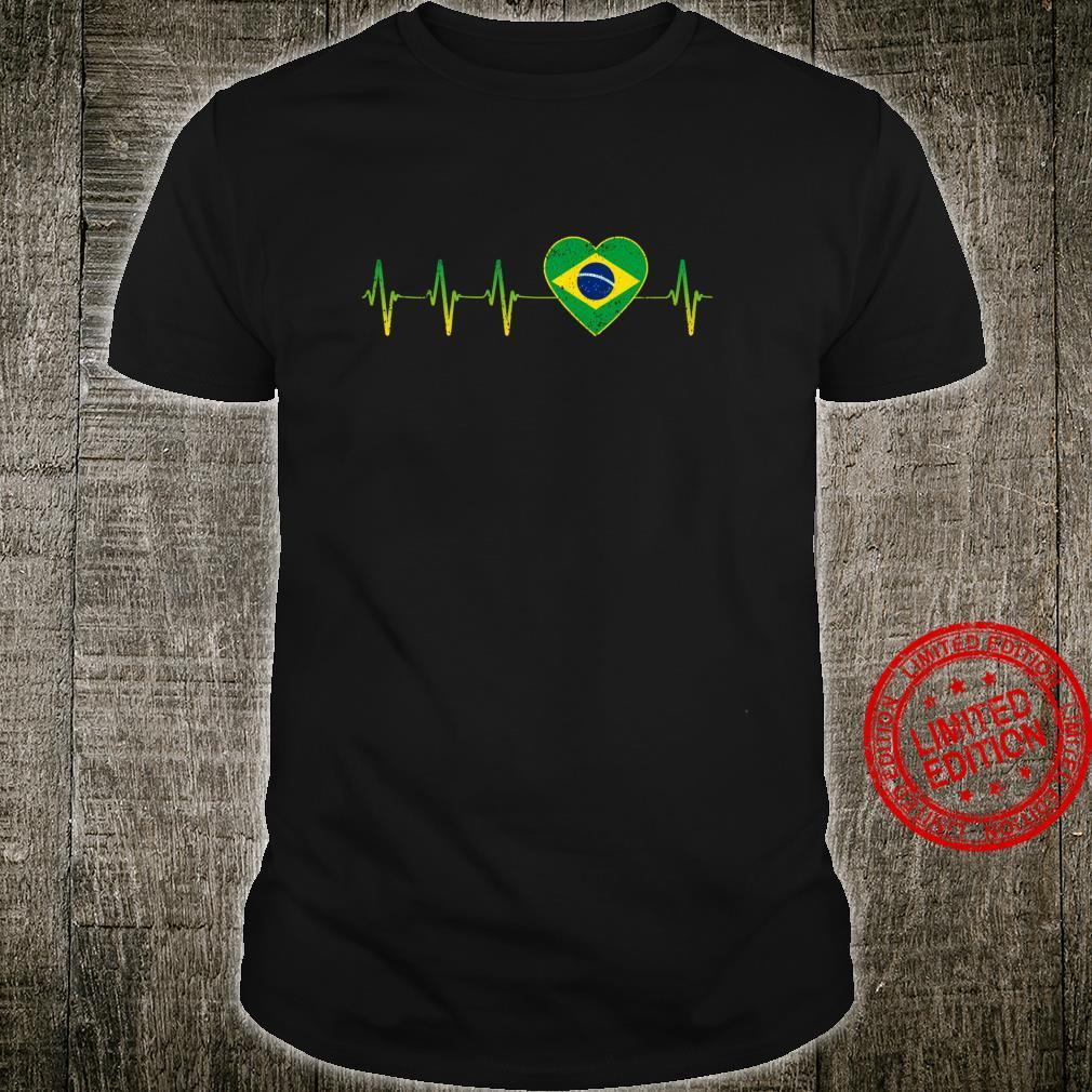 Brasilianischer Herzschlag I Love Brasilien Flagge Herz Shirt