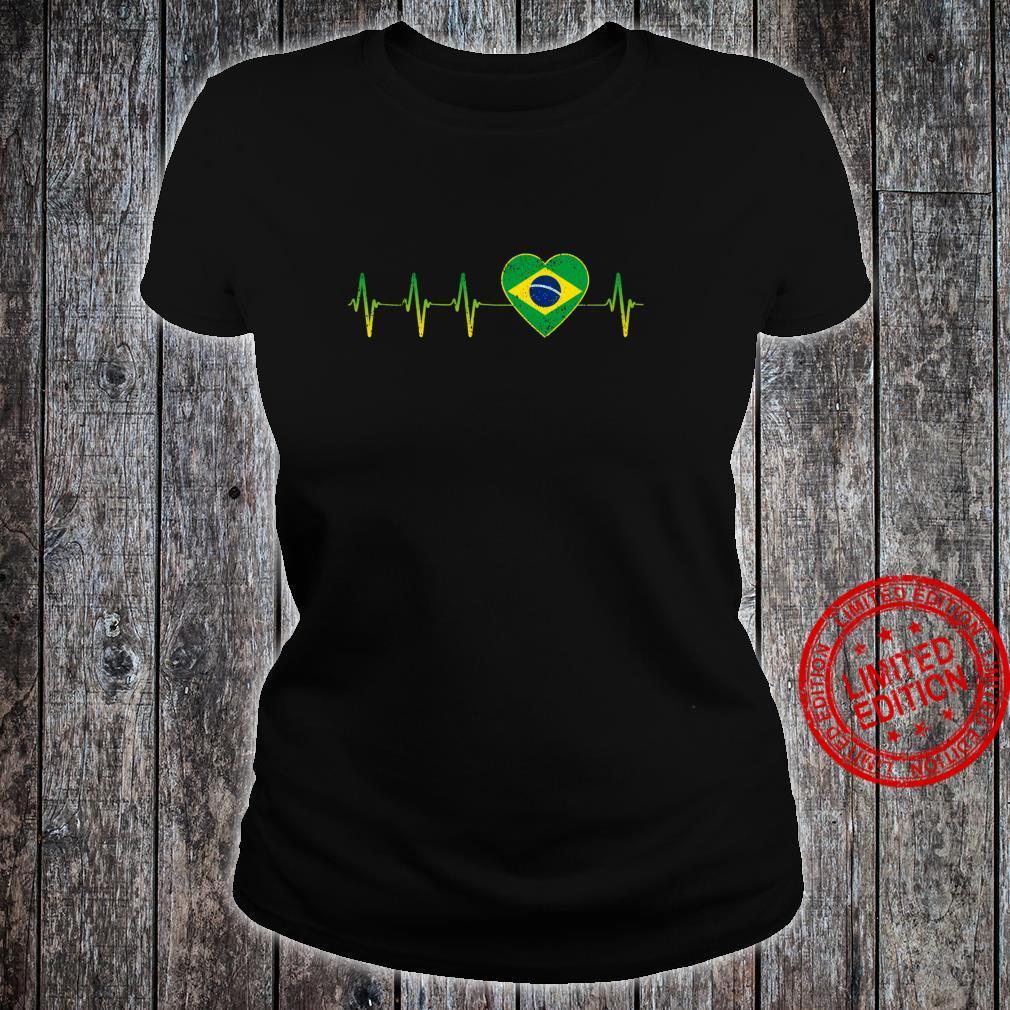 Brasilianischer Herzschlag I Love Brasilien Flagge Herz Shirt ladies tee