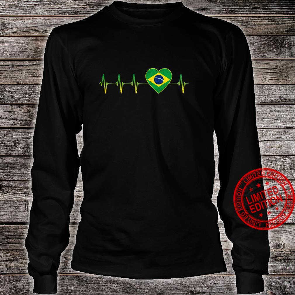 Brasilianischer Herzschlag I Love Brasilien Flagge Herz Shirt long sleeved