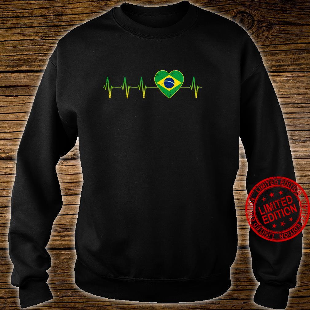 Brasilianischer Herzschlag I Love Brasilien Flagge Herz Shirt sweater