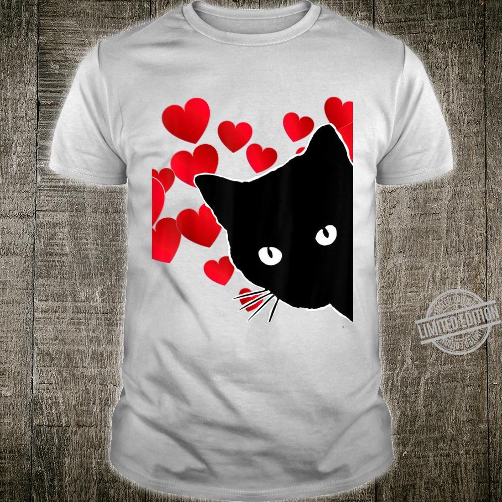 Cat Valentine Gift Shirt Black Cat Red Hearts Cute Cat Shirt