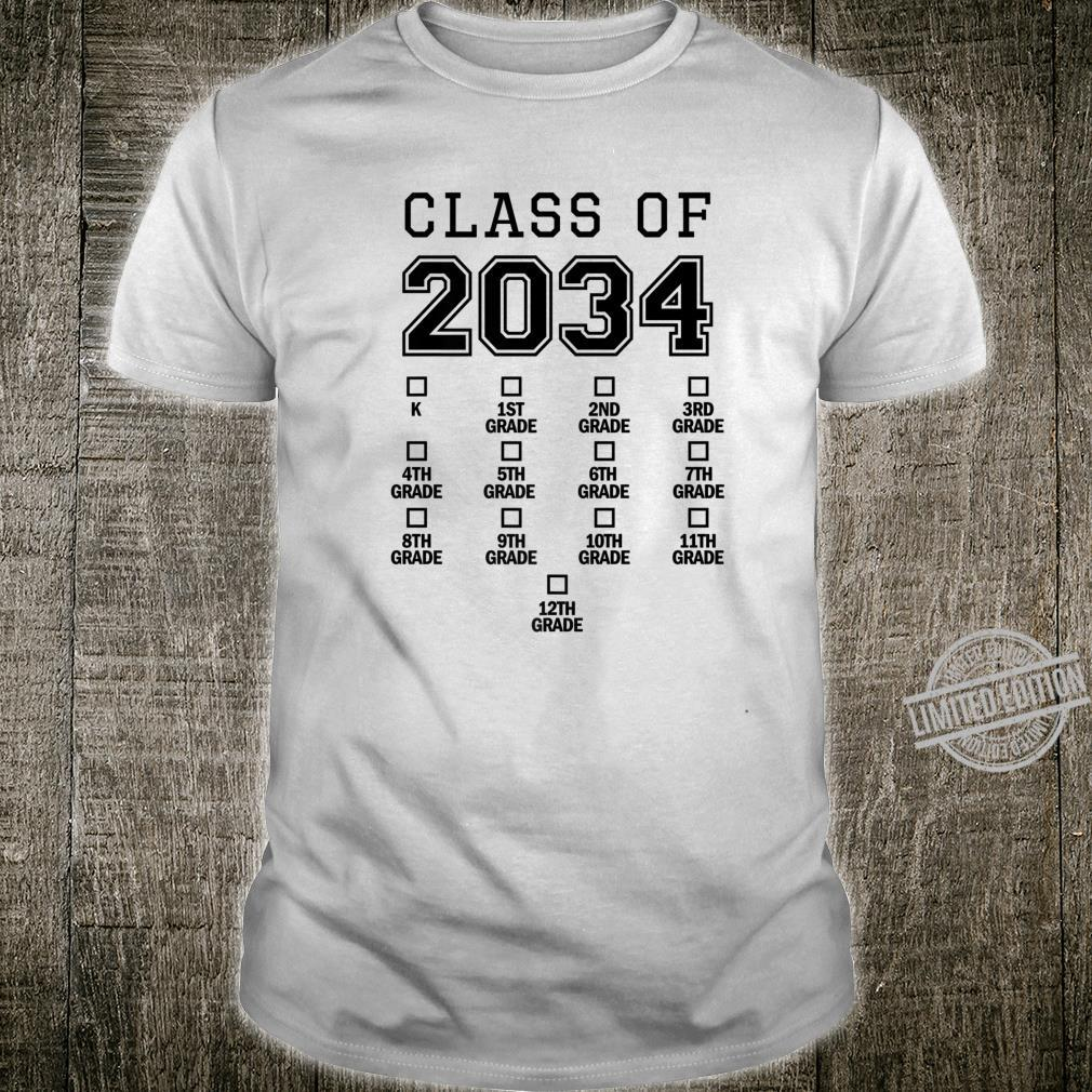 Class of 2034 Grow With Me Shirt Space for Checkmarks Shirt