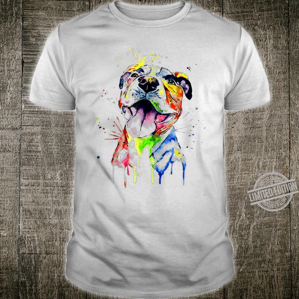 Colorful Pitbull Terrier Dog Lover Dad Mom, Boy Girl Shirt