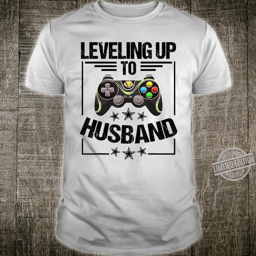 Cool Leveling Up To Husband Gamer Fan Groom Shirt