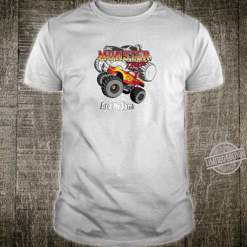 Cool Monster Truck Are My Jam Retro Sunset Engines Shirt