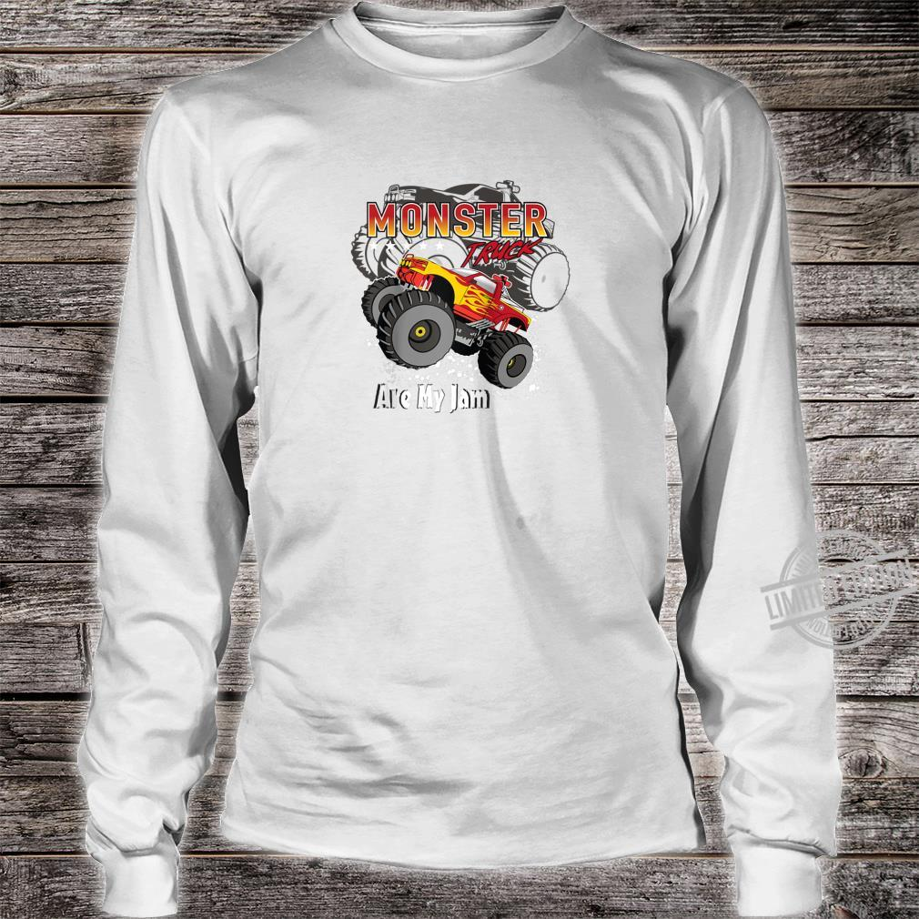 Cool Monster Truck Are My Jam Retro Sunset Engines Shirt long sleeved