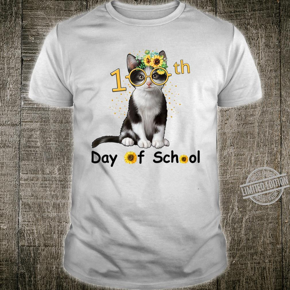 Cute Cat With Sunflower Happy 100th Day Of School Shirt