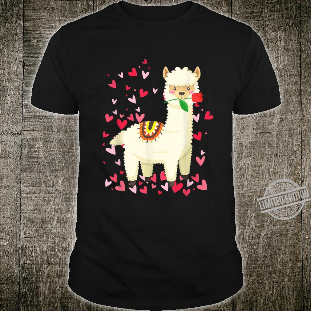 Cute Llama Love Rose Shirt Heart Valentines Day Shirt