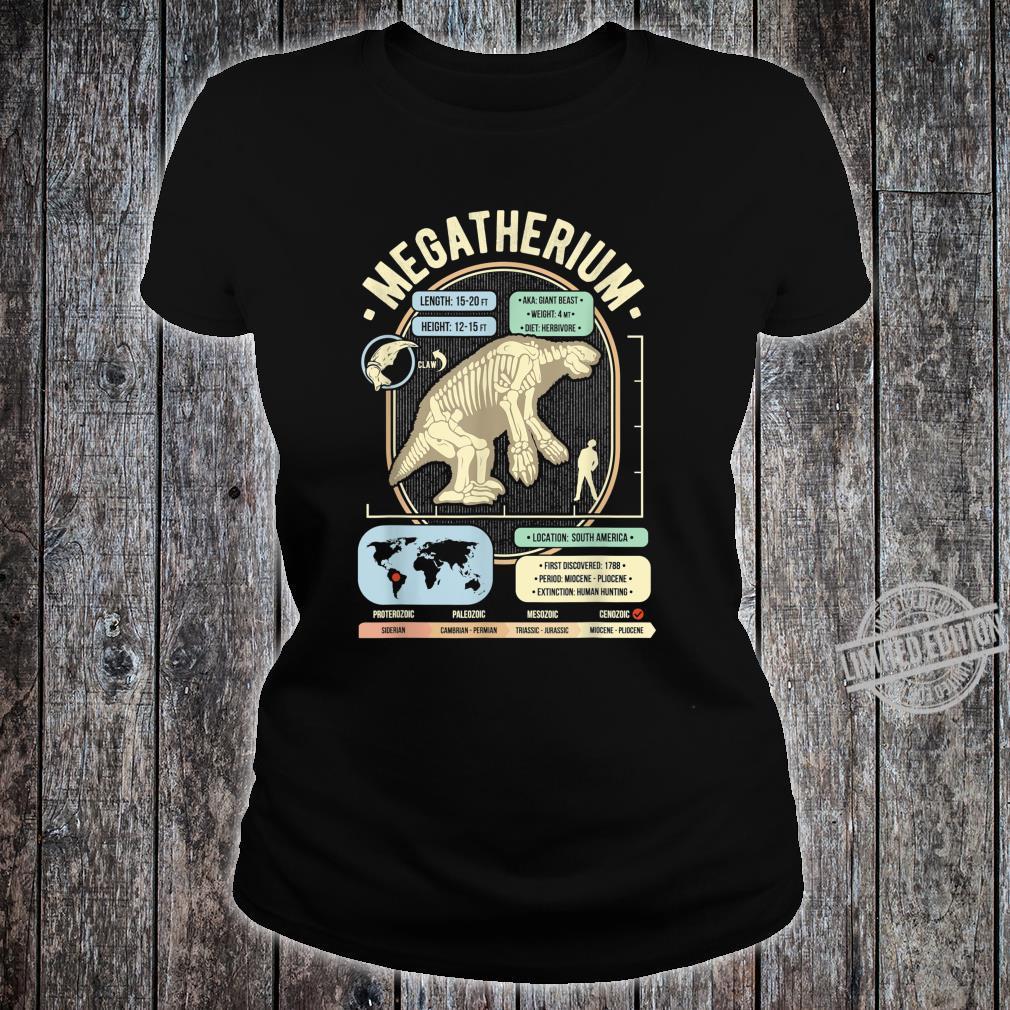 Dinosaur Facts Megatherium Sloth Science & Anatomy Shirt ladies tee