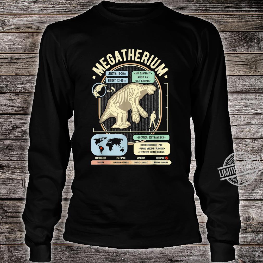 Dinosaur Facts Megatherium Sloth Science & Anatomy Shirt long sleeved