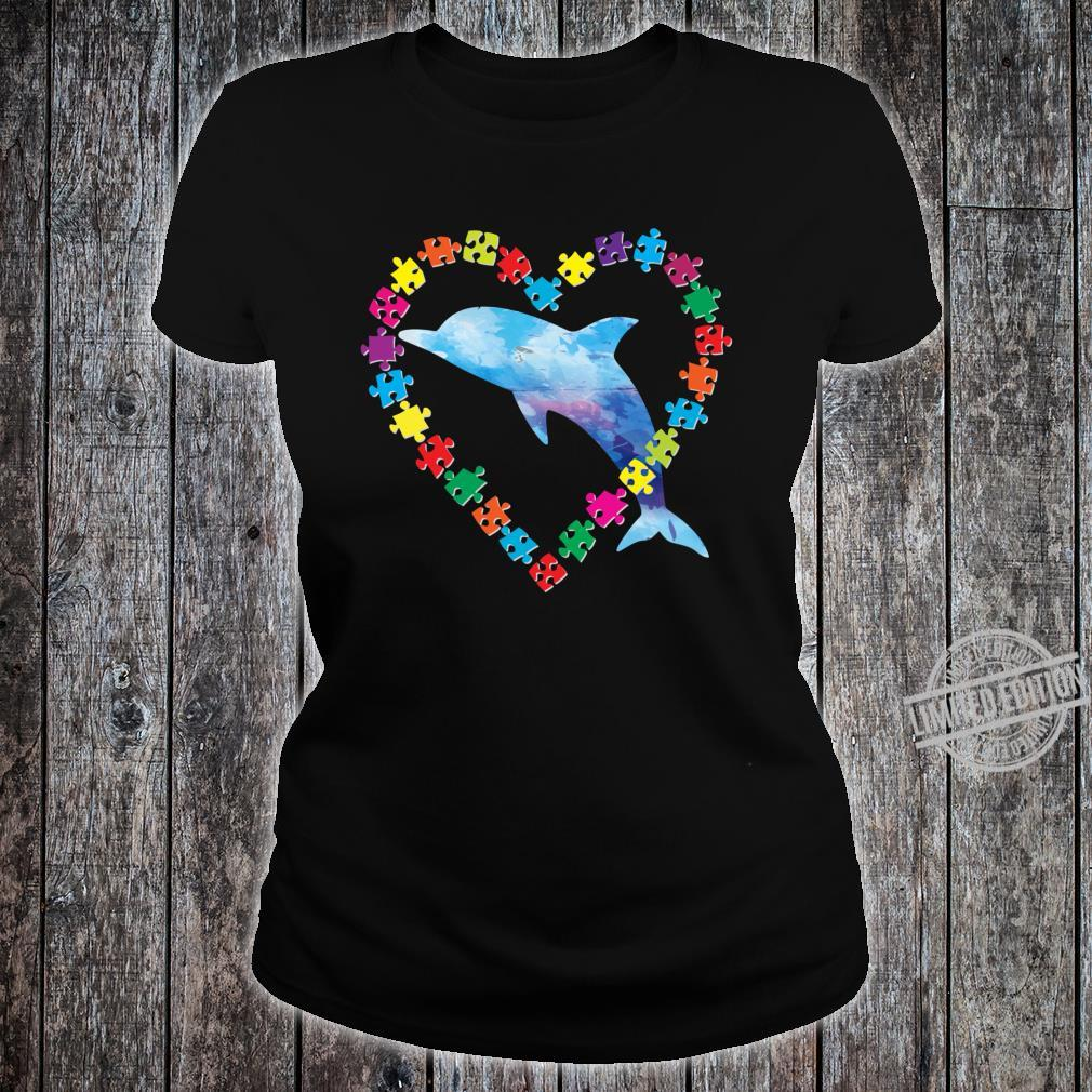 Dolphin Autism Awareness Love Strong Puzzle Pieces Autistic Shirt ladies tee