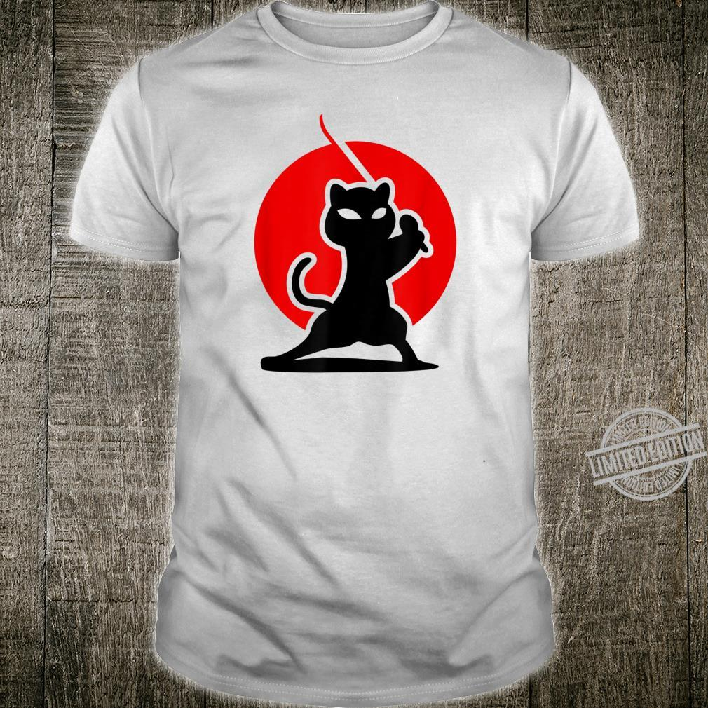 Fearless Ninja Cat Katana Silhouette Japanese Artwork Shirt