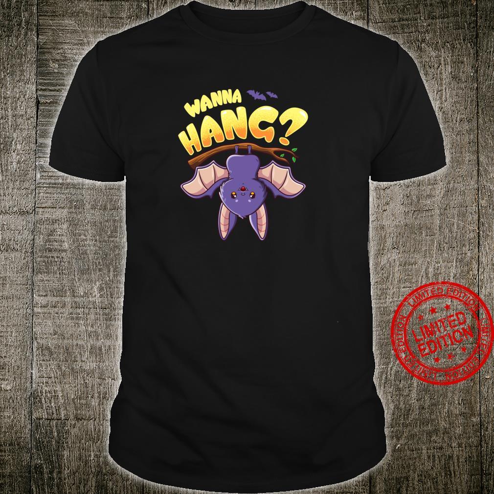 Funny Wanna Hang Happy Halloween Cute Bat Boy Girl Shirt