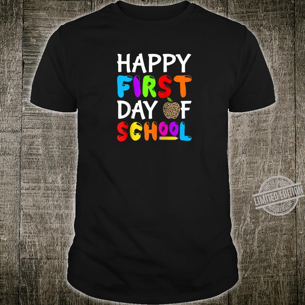 Happy First Day Of School Leopard print teacher student Shirt