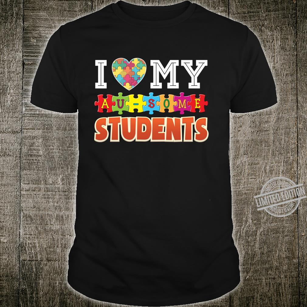 I Love My Ausome Students Autism Awareness Awesome Rainbow Shirt