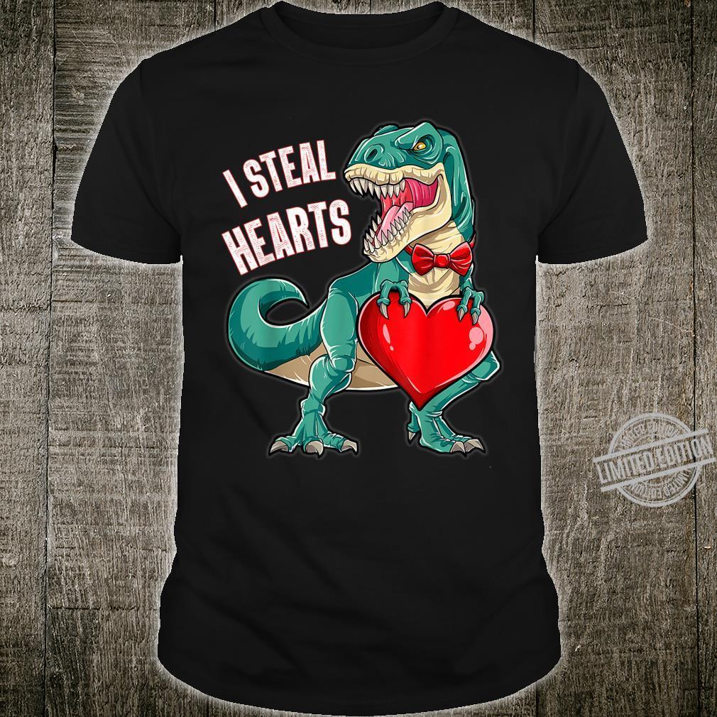 I Steal Hearts Boys Valentines Day Dinosaur T rex Shirt