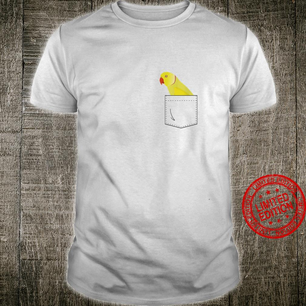 Indian Ringneck Parakeet Yellow Parrot, Fake Pocket Shirt