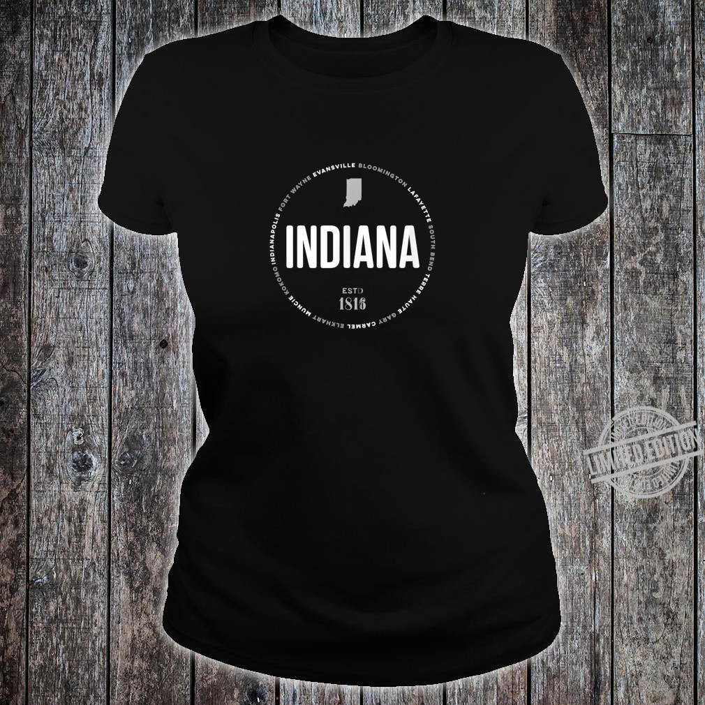 Indiana State Indianapolis Fort Wayne Evansville Map Shirt ladies tee