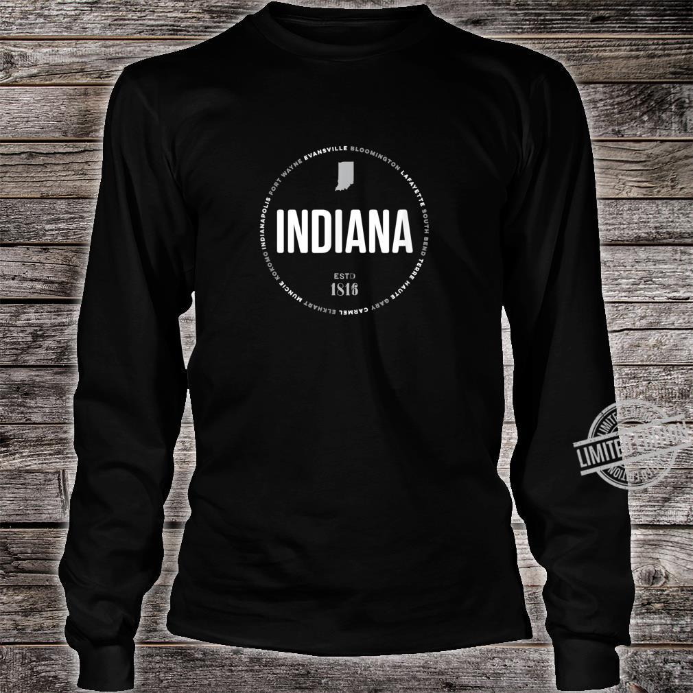 Indiana State Indianapolis Fort Wayne Evansville Map Shirt long sleeved