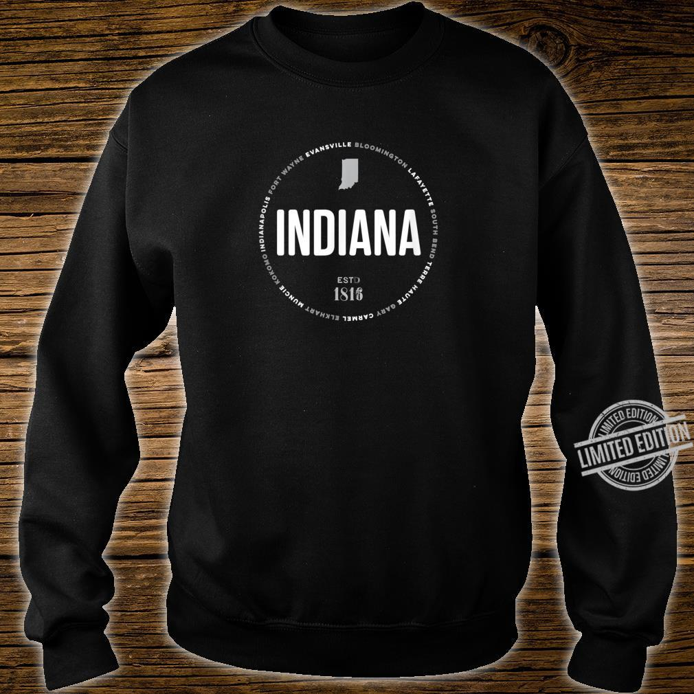 Indiana State Indianapolis Fort Wayne Evansville Map Shirt sweater