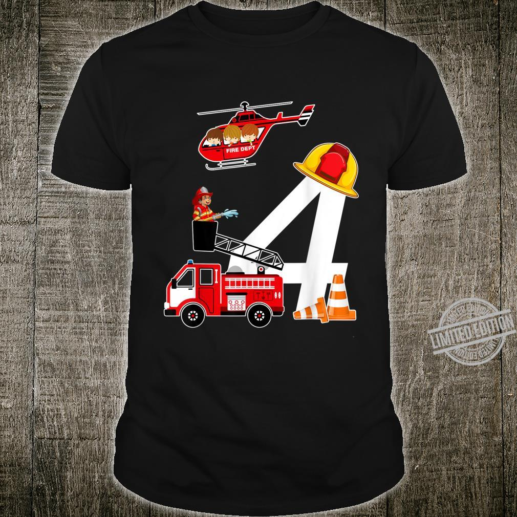 Kids 4th Birthday Party Fire Truck Toddler Shirt Shirt