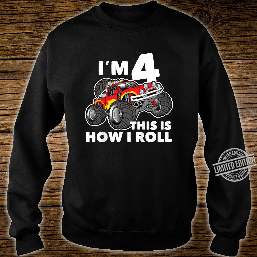 Kids 4th Birthday Shirt, How I Roll Monster Truck 4 Year Old Shirt sweater