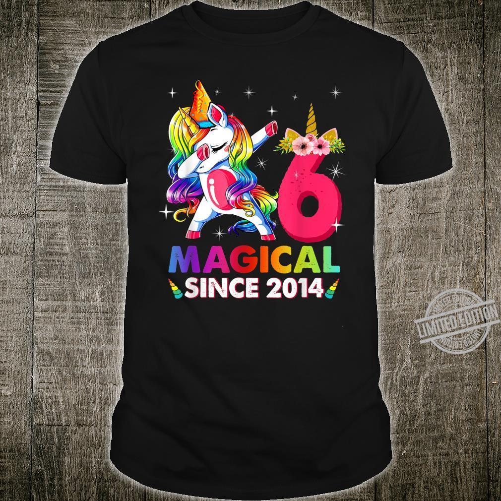 Kids 6 Years Old 6th Birthday Dabbing Unicorn Girls Shirt