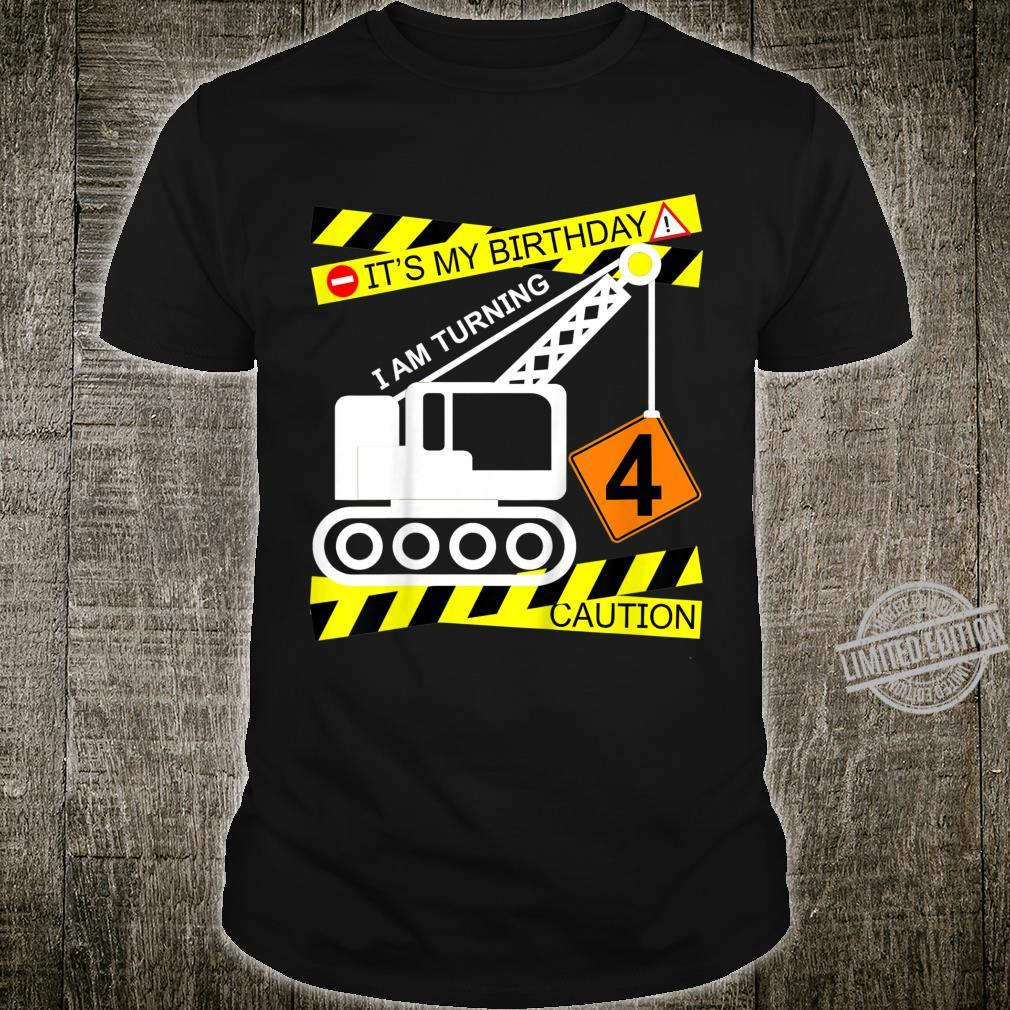 Kids Boys Construction Truck 4th Birthday for Age 4 Yr Old Shirt
