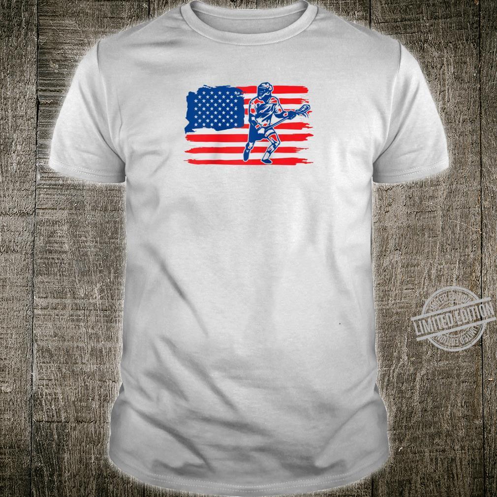 Lacrosse vintage retro American flag LAX boys girls team Shirt