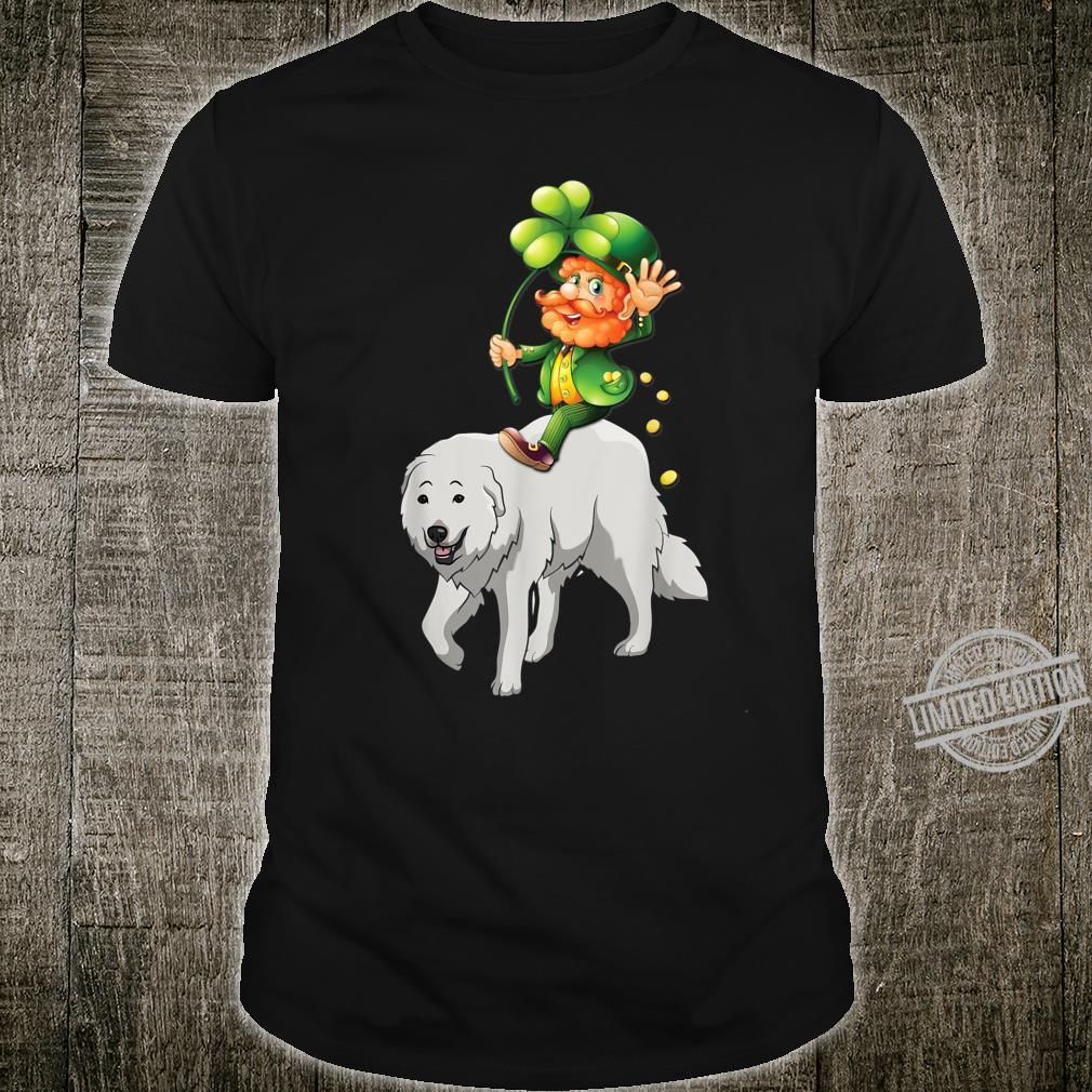 Leprechaun Riding Great Pyrenees Dog St Patricks Day Shirt