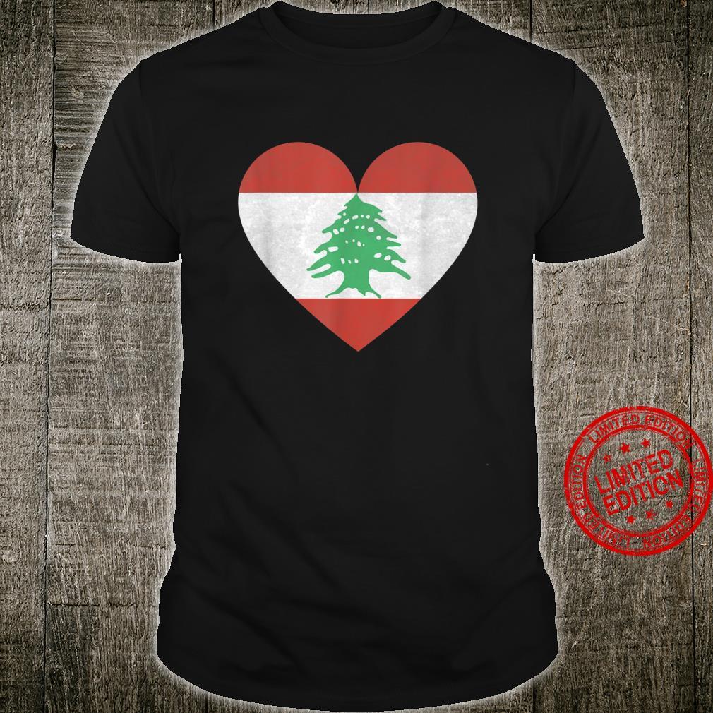 Libanon Beirut Flagge Fahne Herz Vintage Urlaub Ferien Shirt