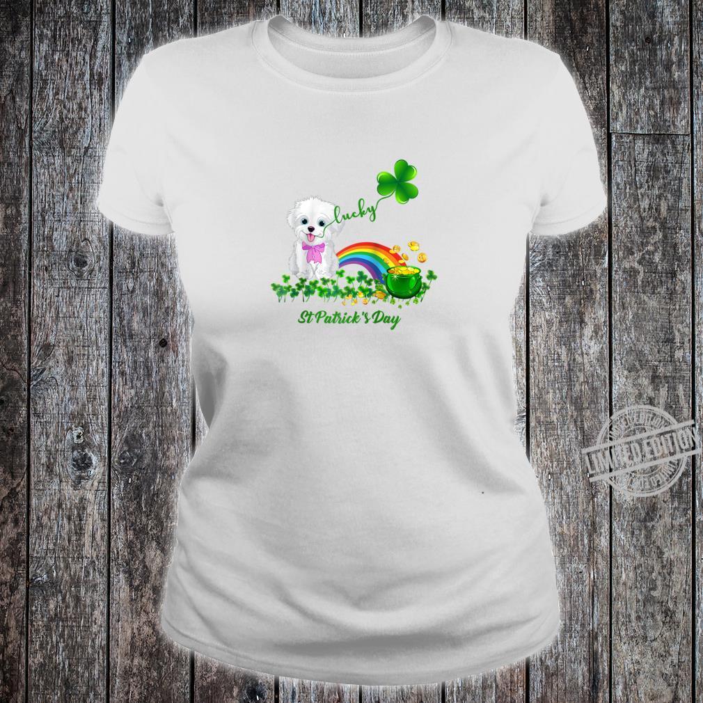 Lucky Saint Bichon Frise Dog Shamrock St Patrick Day Shirt ladies tee