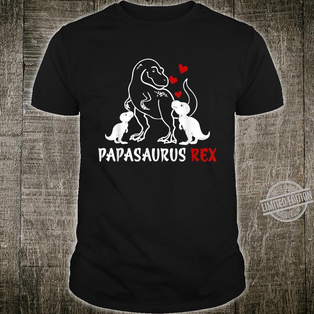 Mens Retro Vintage Papasaurus Rex Family Father's Day Shirt
