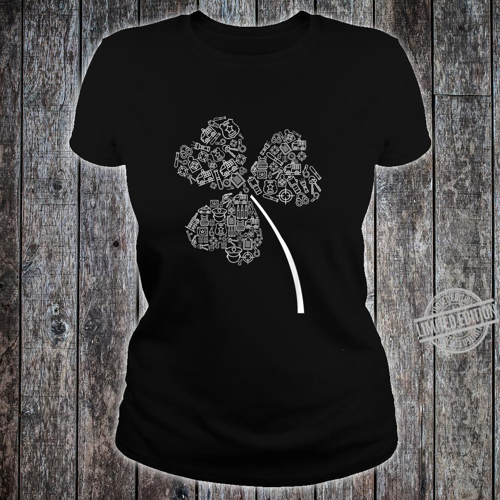 Police Officer St Patrick Clover Cops St Patricks Day Shirt ladies tee