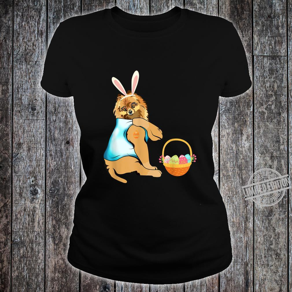 Pomeranian Easter Eggs Tattoo Happy Easter Day Shirt ladies tee