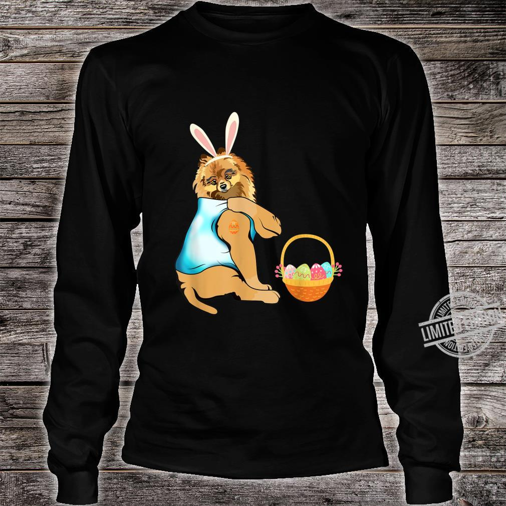 Pomeranian Easter Eggs Tattoo Happy Easter Day Shirt long sleeved