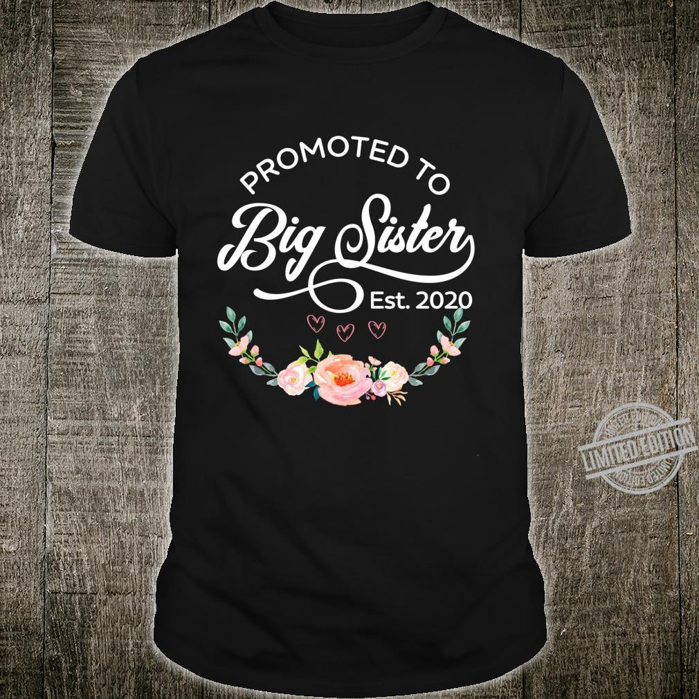 Promoted to Big Sister Est 2020 First Time Sister Floral Shirt