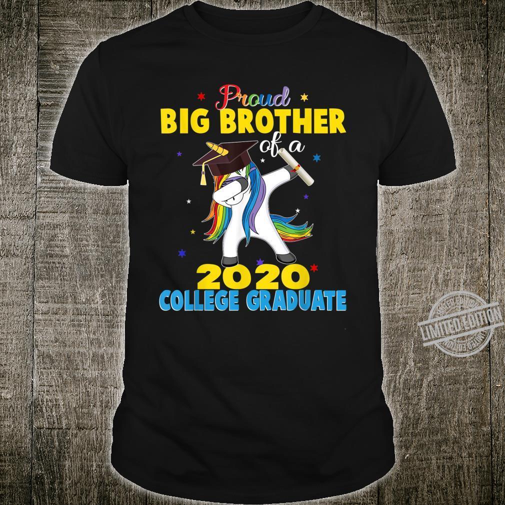 Proud Big Brother of a 2020 College Graduate Unicorn Shirt