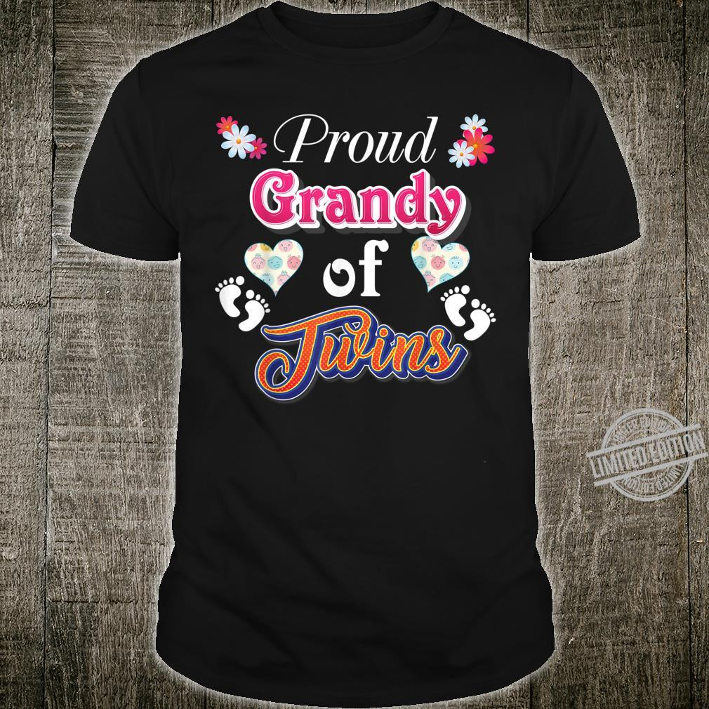 Proud Grandy Of Twins Mother Day Floral Heart Footprint Mom Shirt